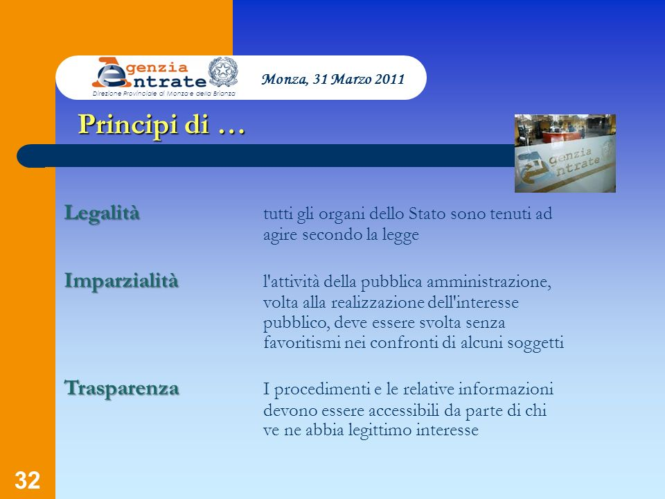 Monza, 31 Marzo 2011 Direzione Provinciale di Monza e della Brianza. Principi di …