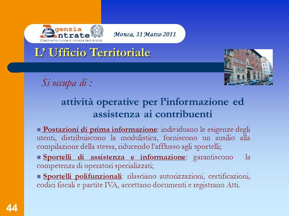 attività operative per l'informazione ed assistenza ai contribuenti