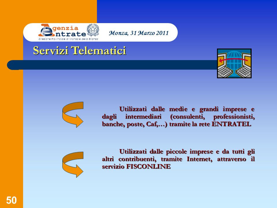 Servizi Telematici Monza, 31 Marzo 2011