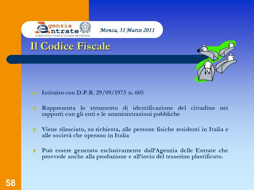 Il Codice Fiscale Monza, 31 Marzo 2011