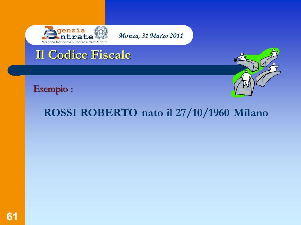 Il Codice Fiscale ROSSI ROBERTO nato il 27/10/1960 Milano Esempio :