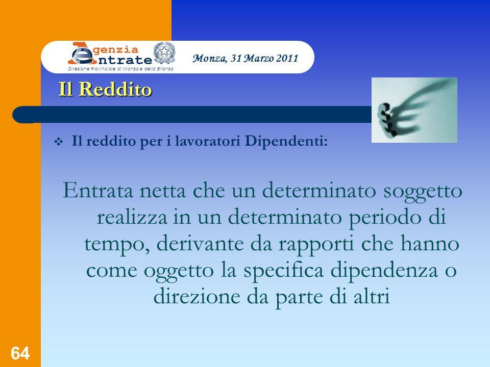 Monza, 31 Marzo 2011 Direzione Provinciale di Monza e della Brianza. Il Reddito. Il reddito per i lavoratori Dipendenti: