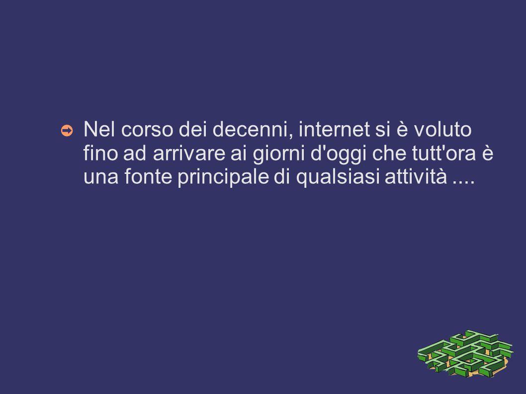 Nel corso dei decenni, internet si è voluto fino ad arrivare ai giorni d oggi che tutt ora è una fonte principale di qualsiasi attività ....