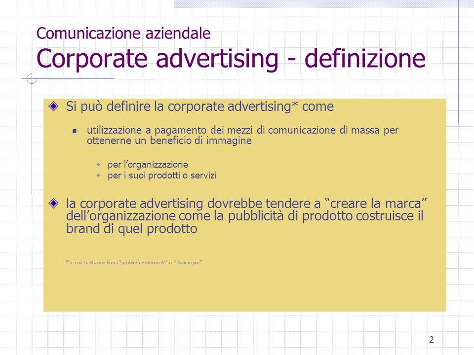 Comunicazione aziendale Corporate advertising - definizione