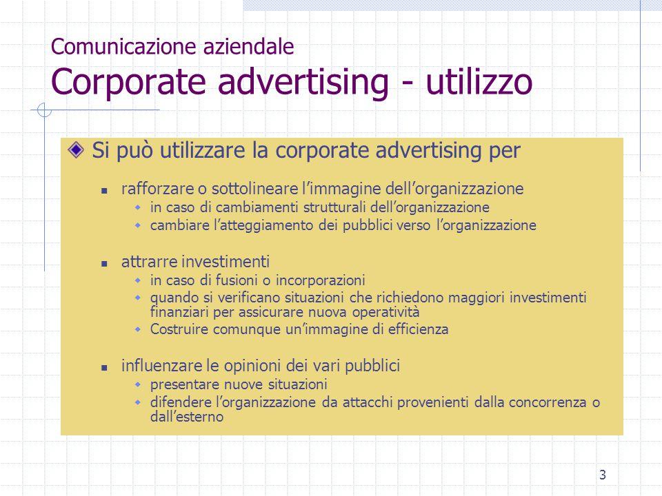 Comunicazione aziendale Corporate advertising - utilizzo