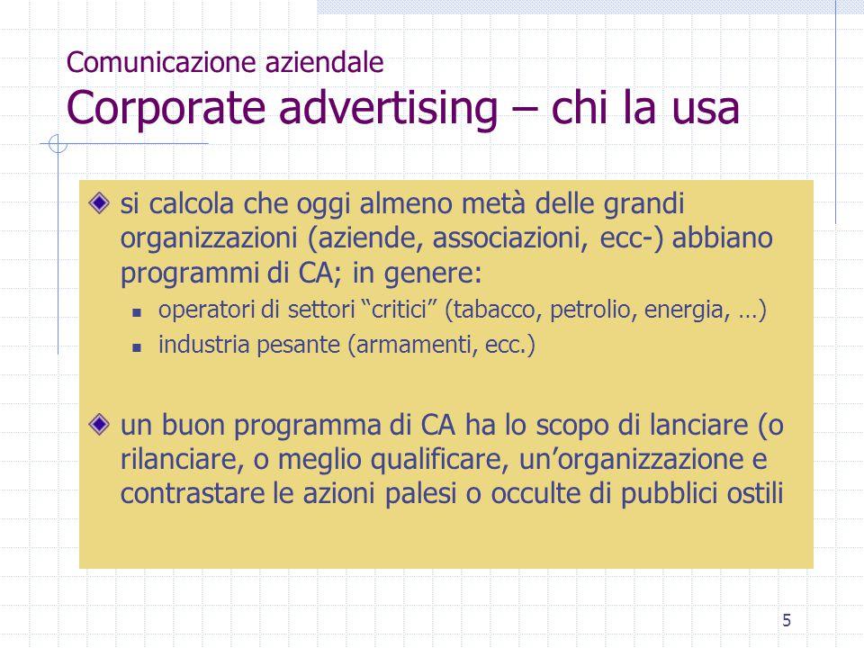 Comunicazione aziendale Corporate advertising – chi la usa