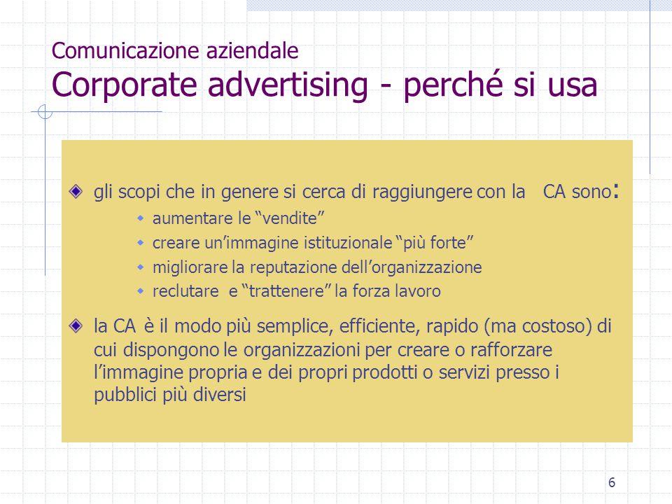 Comunicazione aziendale Corporate advertising - perché si usa