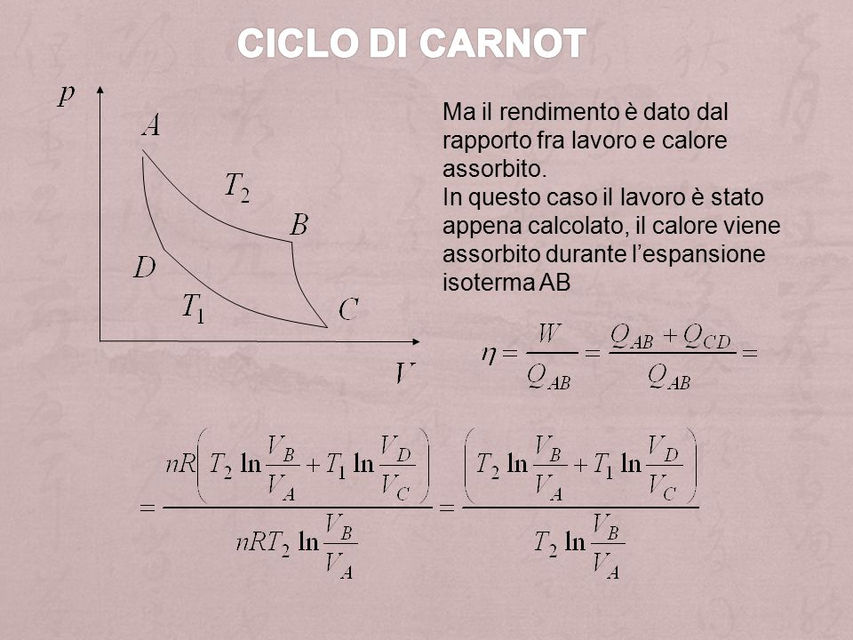 Ciclo di Carnot Ma il rendimento è dato dal rapporto fra lavoro e calore assorbito.