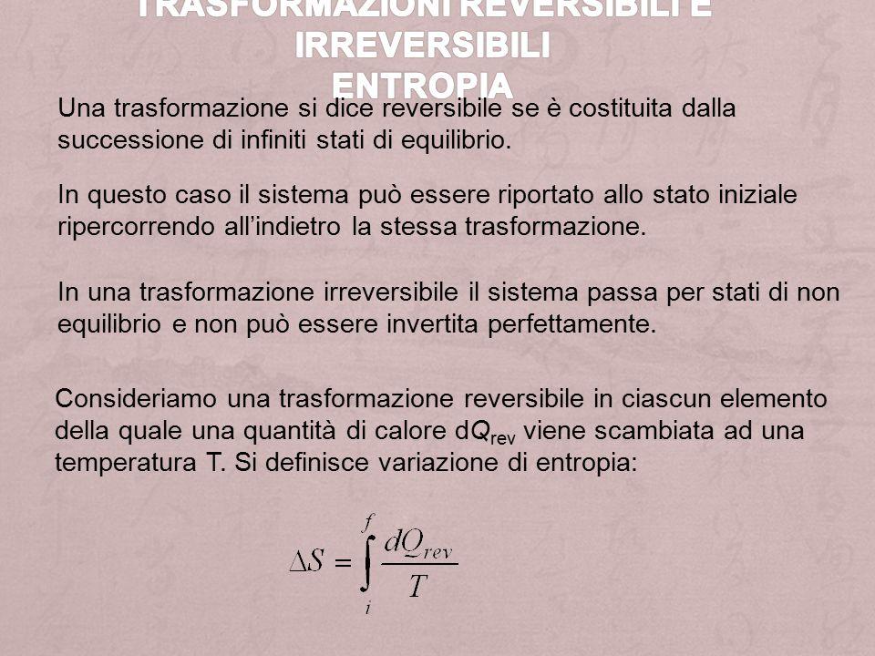 Trasformazioni reversibili e irreversibili Entropia