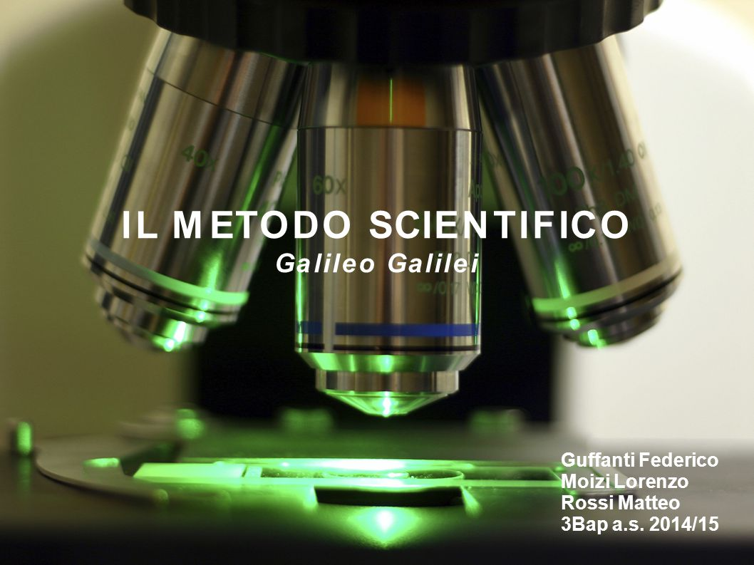 IL METODO SCIENTIFICO Galileo Galilei