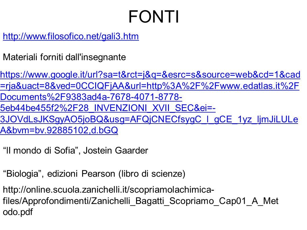 FONTI http://www.filosofico.net/gali3.htm