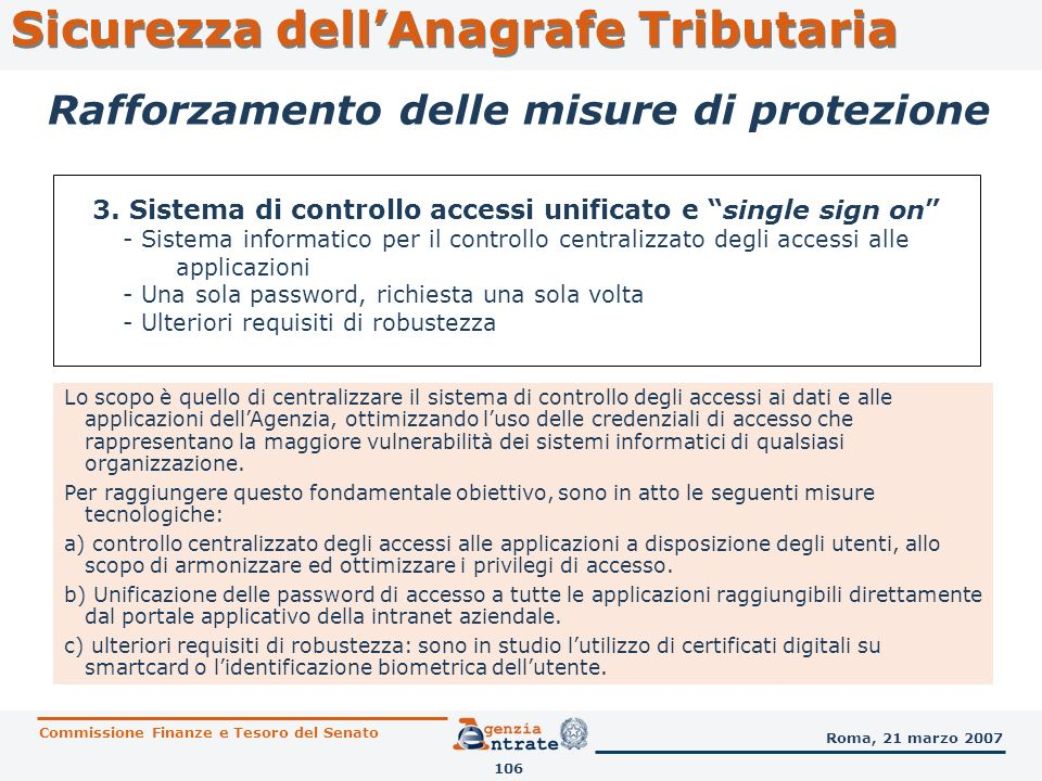 Sicurezza dell'Anagrafe Tributaria