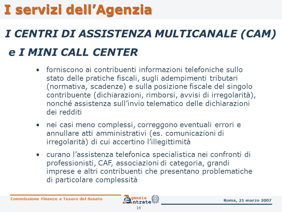 I servizi dell'Agenzia