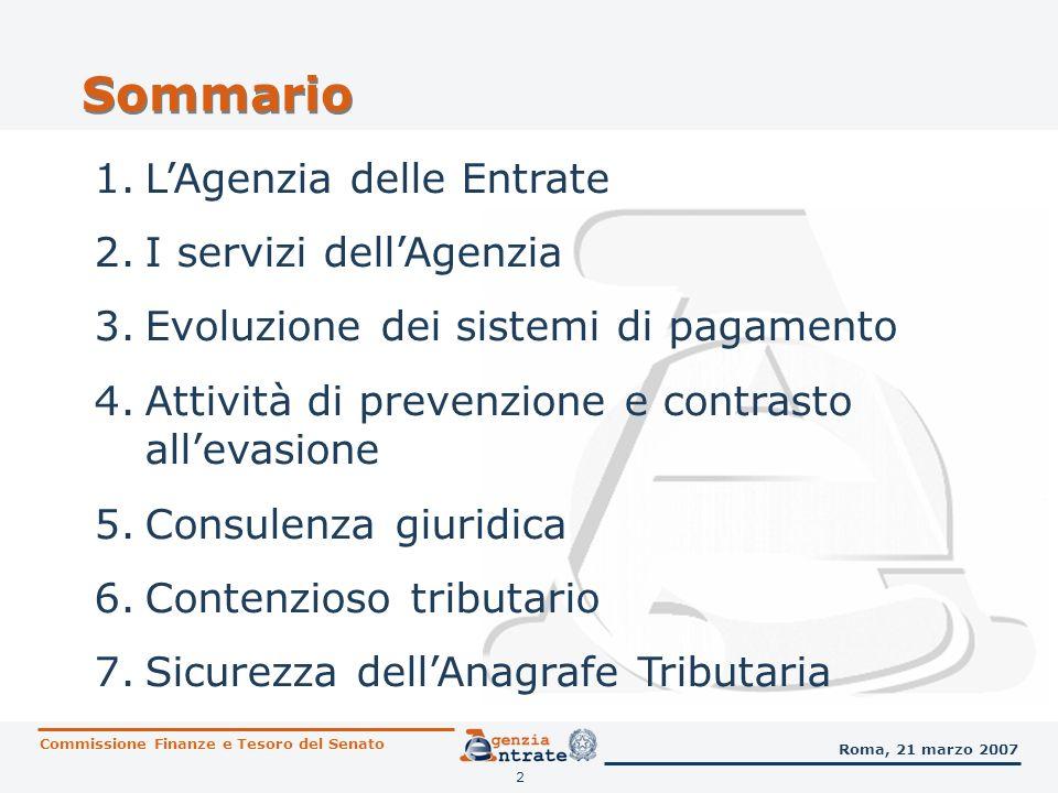 Sommario L'Agenzia delle Entrate I servizi dell'Agenzia