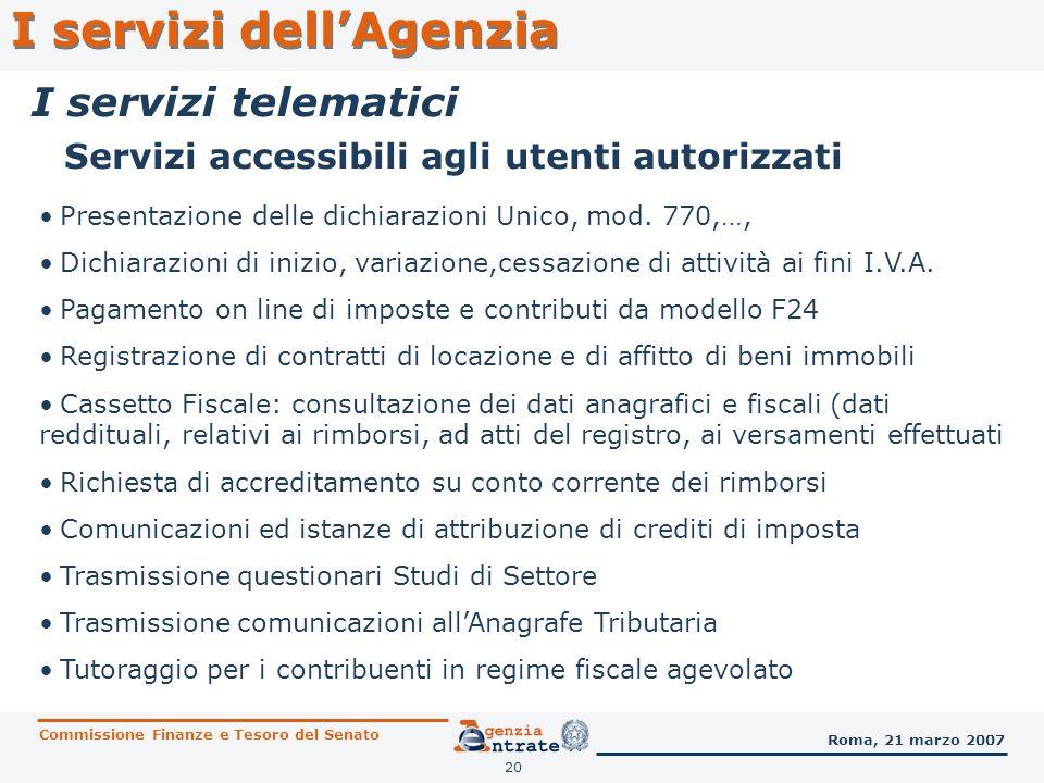 Servizi accessibili agli utenti autorizzati