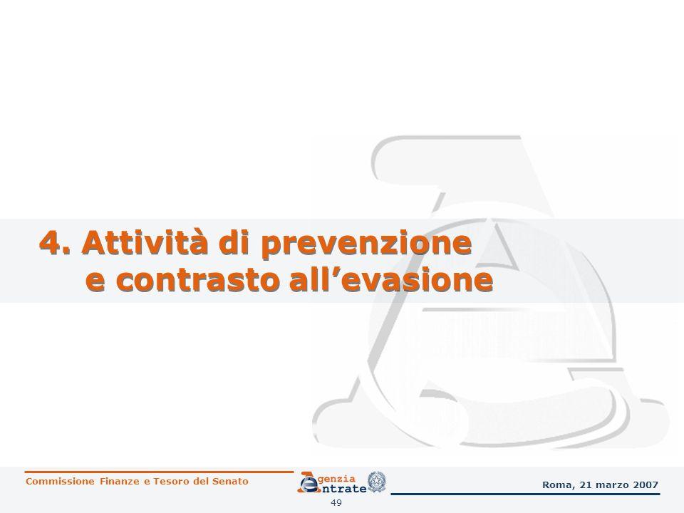 4. Attività di prevenzione e contrasto all'evasione