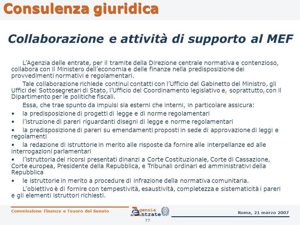 Consulenza giuridica Collaborazione e attività di supporto al MEF