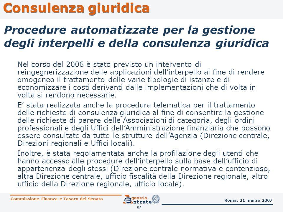 Consulenza giuridica Procedure automatizzate per la gestione degli interpelli e della consulenza giuridica.