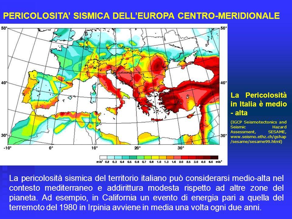 PERICOLOSITA' SISMICA DELL'EUROPA CENTRO-MERIDIONALE