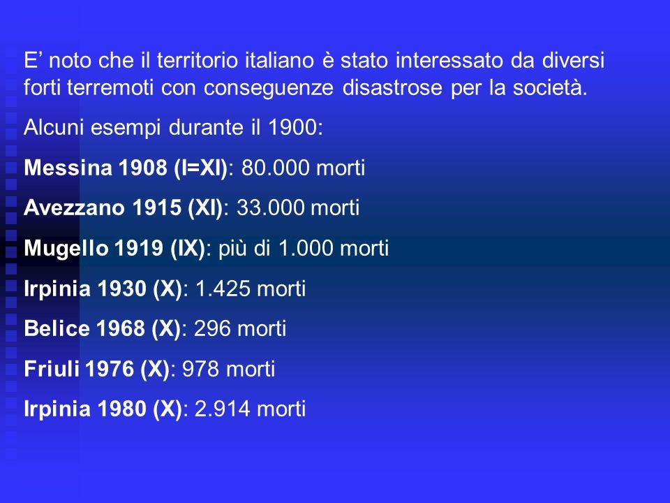 E' noto che il territorio italiano è stato interessato da diversi forti terremoti con conseguenze disastrose per la società.