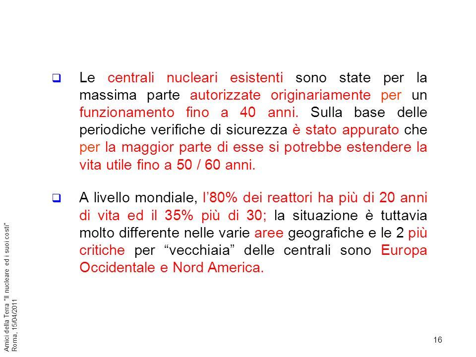 Le centrali nucleari esistenti sono state per la massima parte autorizzate originariamente per un funzionamento fino a 40 anni. Sulla base delle periodiche verifiche di sicurezza è stato appurato che per la maggior parte di esse si potrebbe estendere la vita utile fino a 50 / 60 anni.