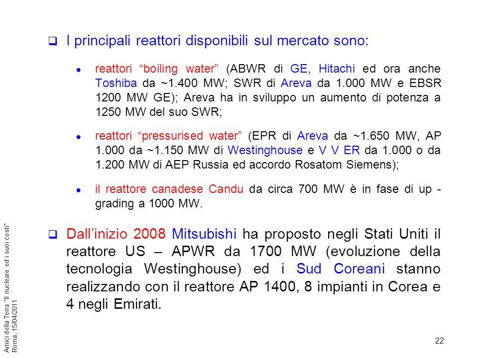 I principali reattori disponibili sul mercato sono: