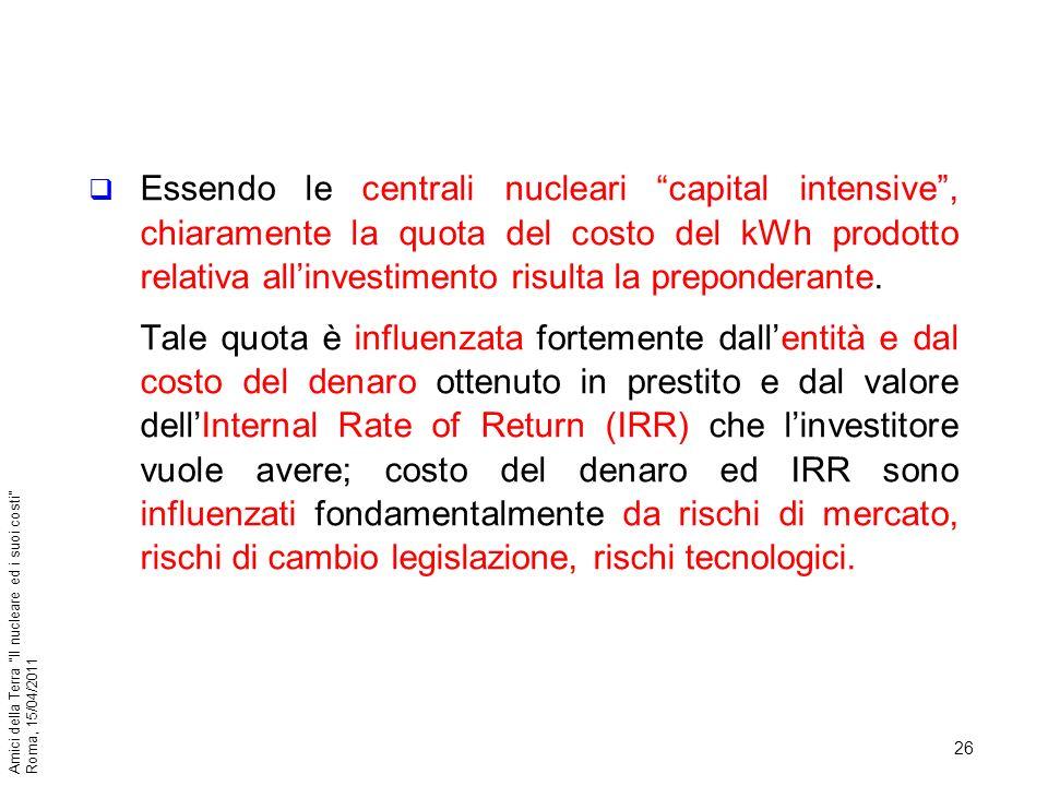 Essendo le centrali nucleari capital intensive , chiaramente la quota del costo del kWh prodotto relativa all'investimento risulta la preponderante.