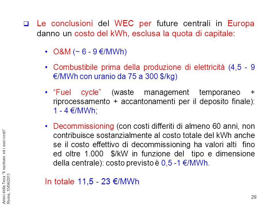 Le conclusioni del WEC per future centrali in Europa danno un costo del kWh, esclusa la quota di capitale: