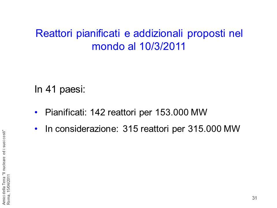 Reattori pianificati e addizionali proposti nel mondo al 10/3/2011