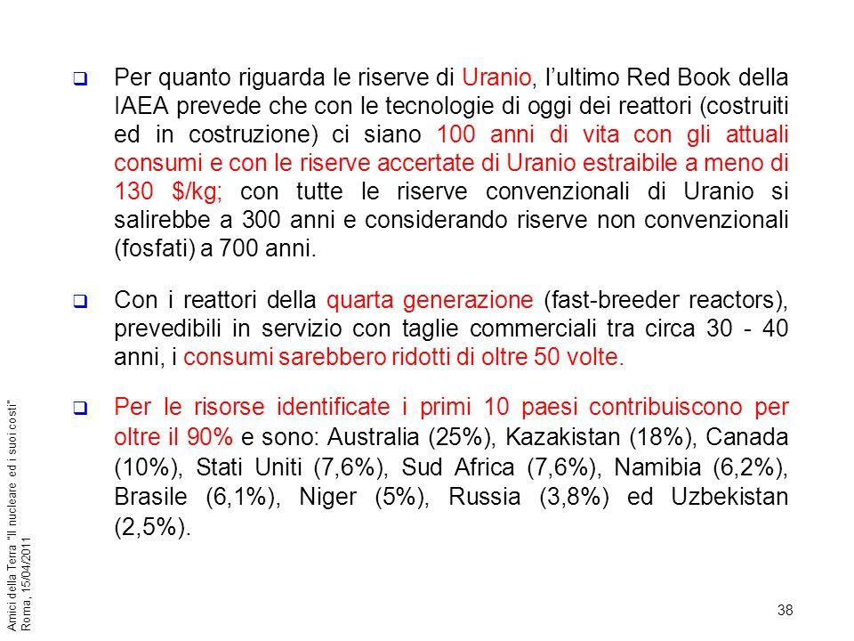 Per quanto riguarda le riserve di Uranio, l'ultimo Red Book della IAEA prevede che con le tecnologie di oggi dei reattori (costruiti ed in costruzione) ci siano 100 anni di vita con gli attuali consumi e con le riserve accertate di Uranio estraibile a meno di 130 $/kg; con tutte le riserve convenzionali di Uranio si salirebbe a 300 anni e considerando riserve non convenzionali (fosfati) a 700 anni.