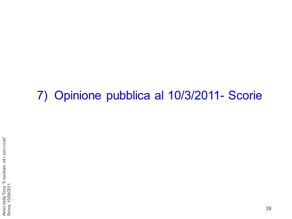 Opinione pubblica al 10/3/2011- Scorie