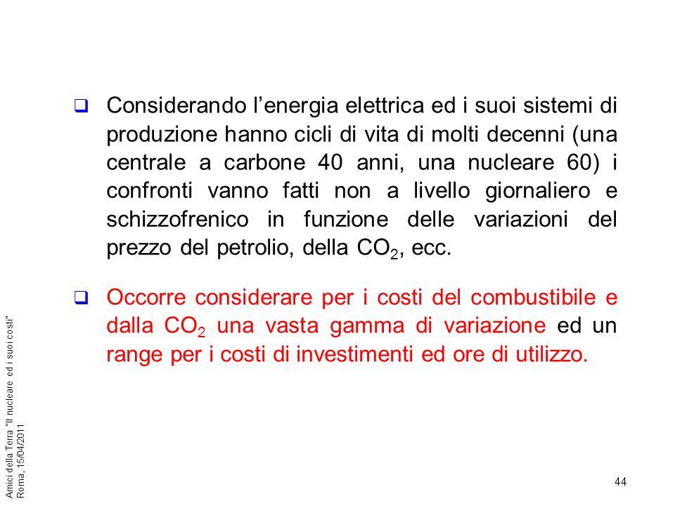Considerando l'energia elettrica ed i suoi sistemi di produzione hanno cicli di vita di molti decenni (una centrale a carbone 40 anni, una nucleare 60) i confronti vanno fatti non a livello giornaliero e schizzofrenico in funzione delle variazioni del prezzo del petrolio, della CO2, ecc.