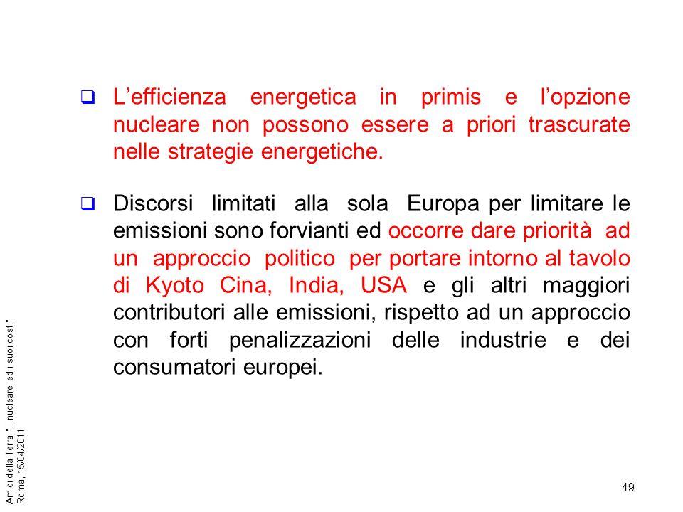 L'efficienza energetica in primis e l'opzione nucleare non possono essere a priori trascurate nelle strategie energetiche.