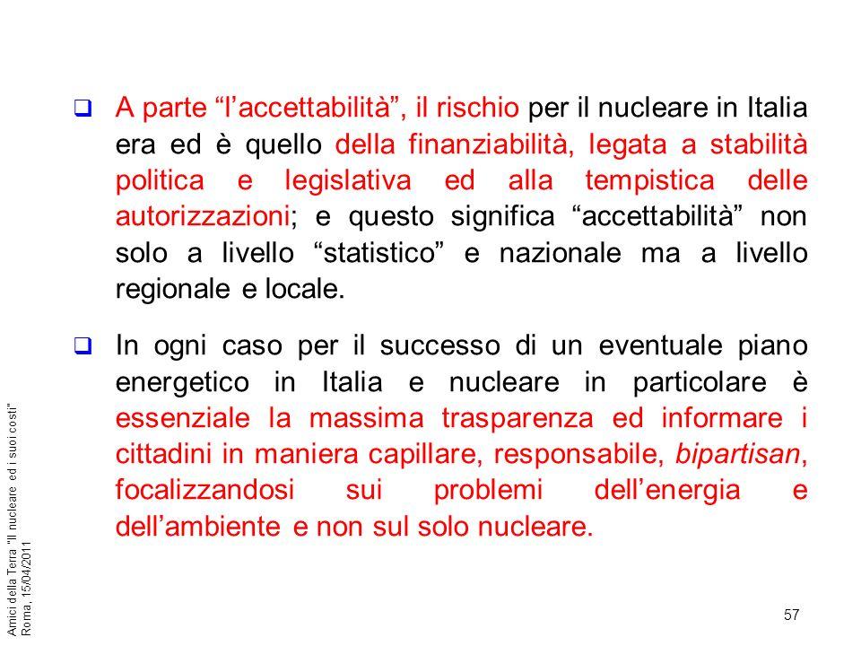 A parte l'accettabilità , il rischio per il nucleare in Italia era ed è quello della finanziabilità, legata a stabilità politica e legislativa ed alla tempistica delle autorizzazioni; e questo significa accettabilità non solo a livello statistico e nazionale ma a livello regionale e locale.