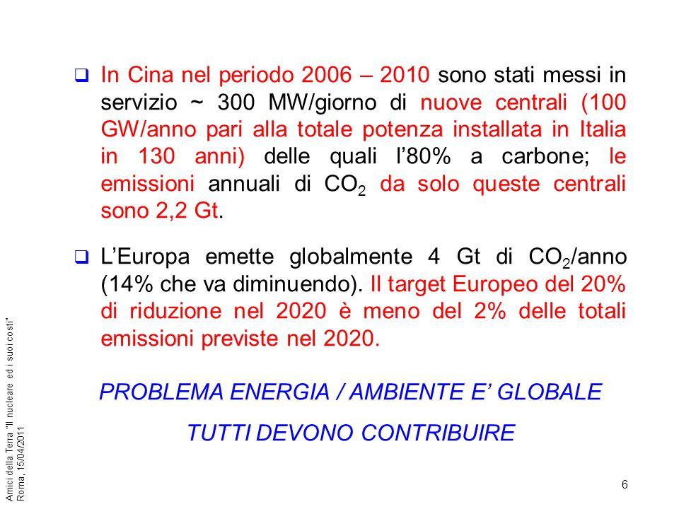 PROBLEMA ENERGIA / AMBIENTE E' GLOBALE TUTTI DEVONO CONTRIBUIRE