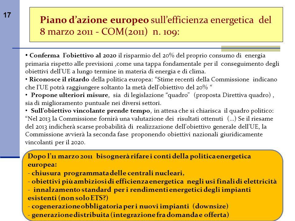 Piano d'azione europeo sull'efficienza energetica del 8 marzo 2011 - COM(2011) n. 109: