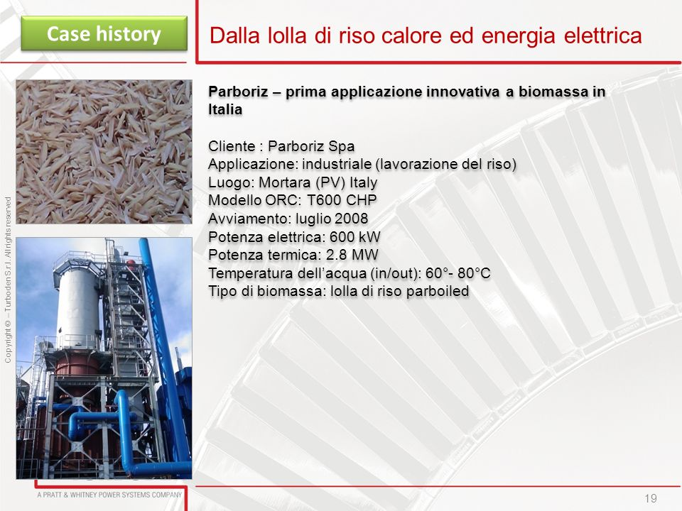 Dalla lolla di riso calore ed energia elettrica