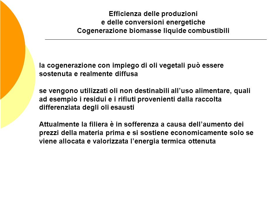 Efficienza delle produzioni e delle conversioni energetiche