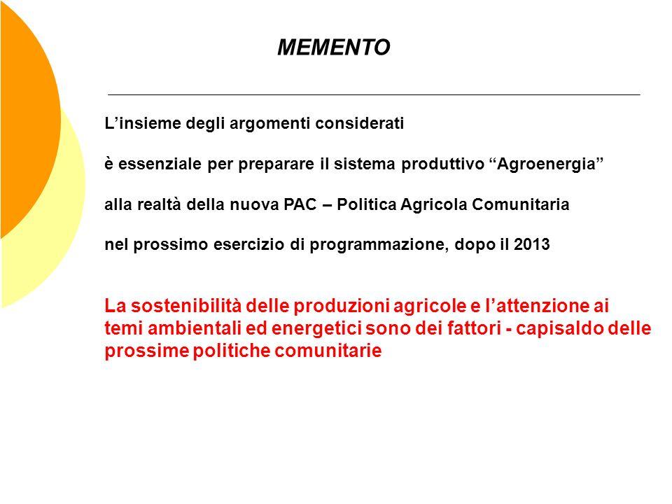 MEMENTO L'insieme degli argomenti considerati. è essenziale per preparare il sistema produttivo Agroenergia