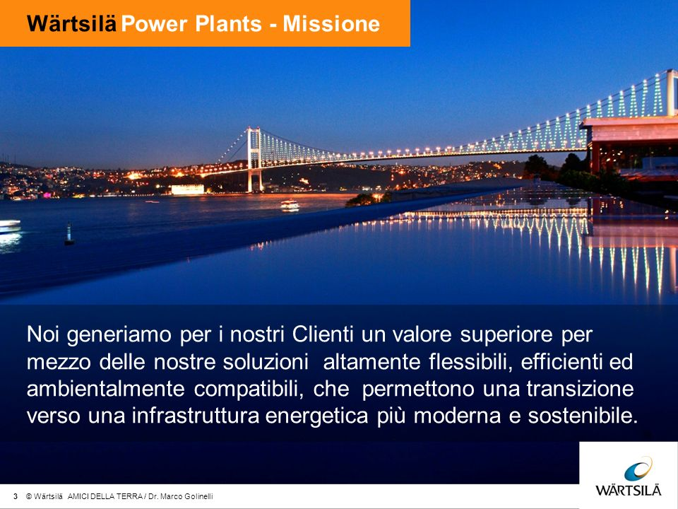 Wärtsilä Power Plants - Missione