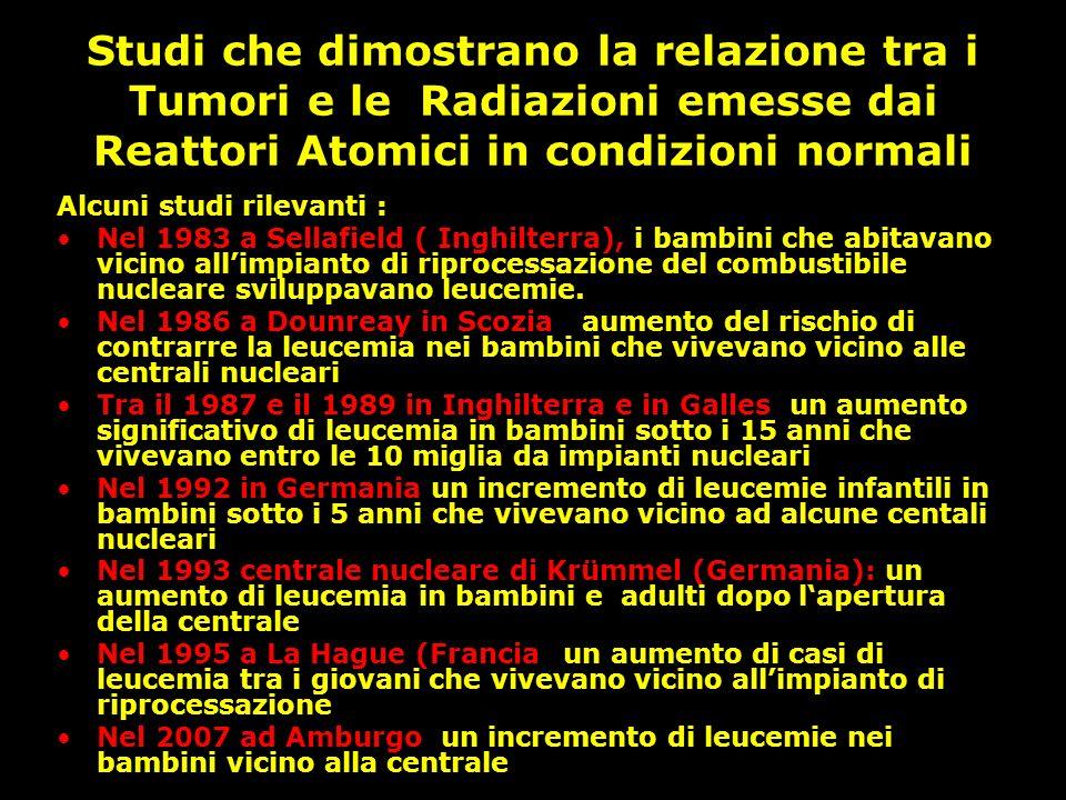 Studi che dimostrano la relazione tra i Tumori e le Radiazioni emesse dai Reattori Atomici in condizioni normali