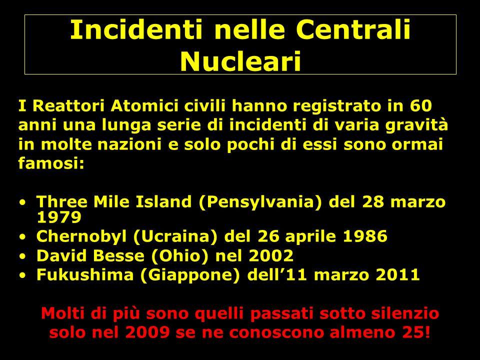 Incidenti nelle Centrali Nucleari