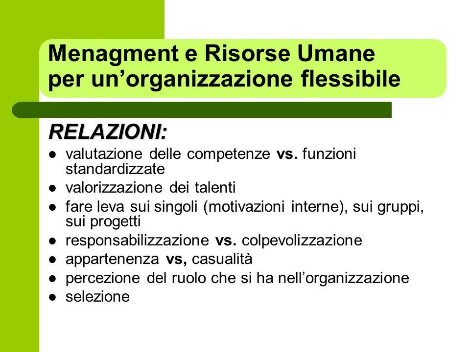 Menagment e Risorse Umane per un'organizzazione flessibile