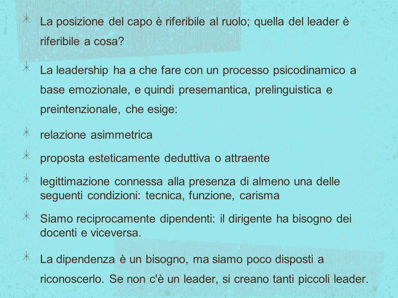 La posizione del capo è riferibile al ruolo; quella del leader è riferibile a cosa