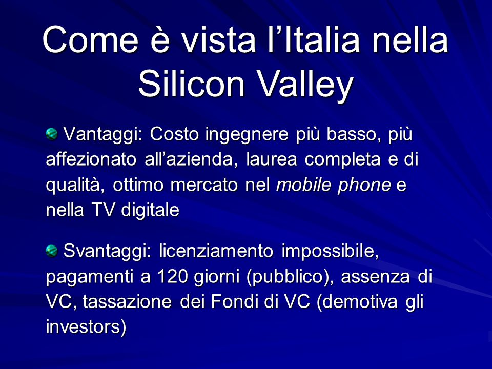 Come è vista l'Italia nella Silicon Valley