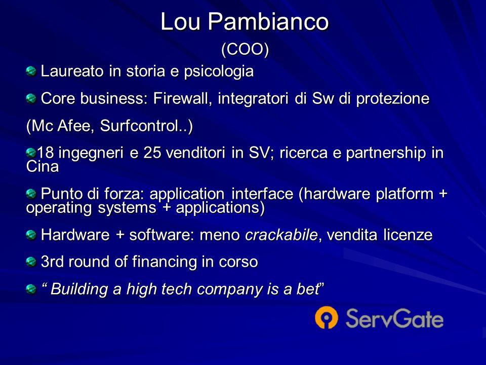 Lou Pambianco (COO) Laureato in storia e psicologia