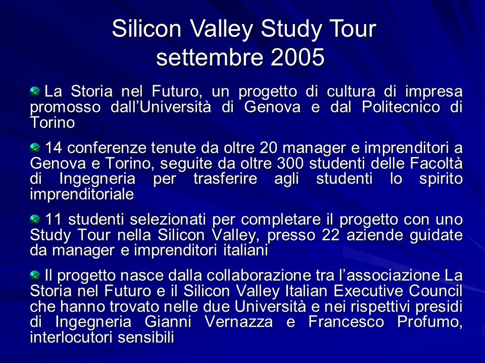 Silicon Valley Study Tour settembre 2005