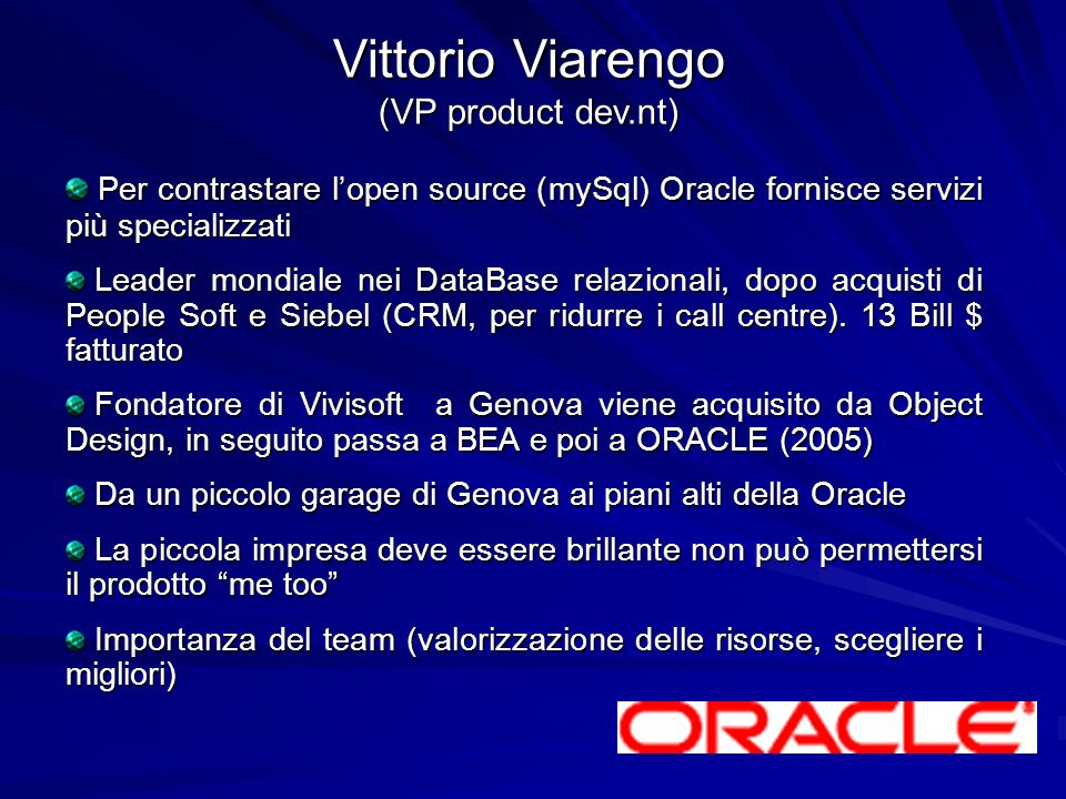 Vittorio Viarengo (VP product dev.nt)