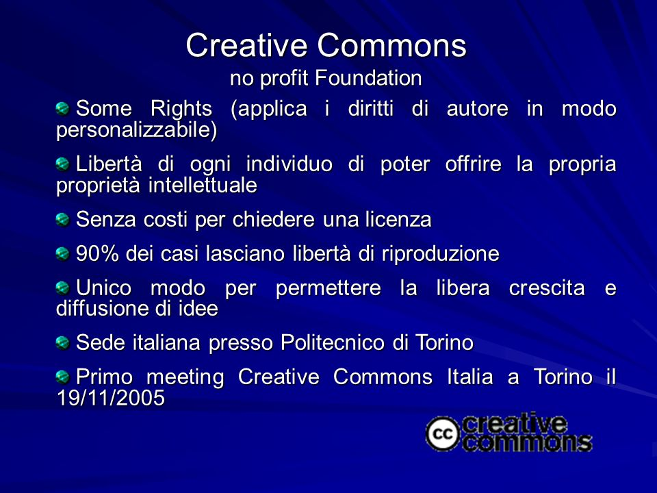 Creative Commons no profit Foundation