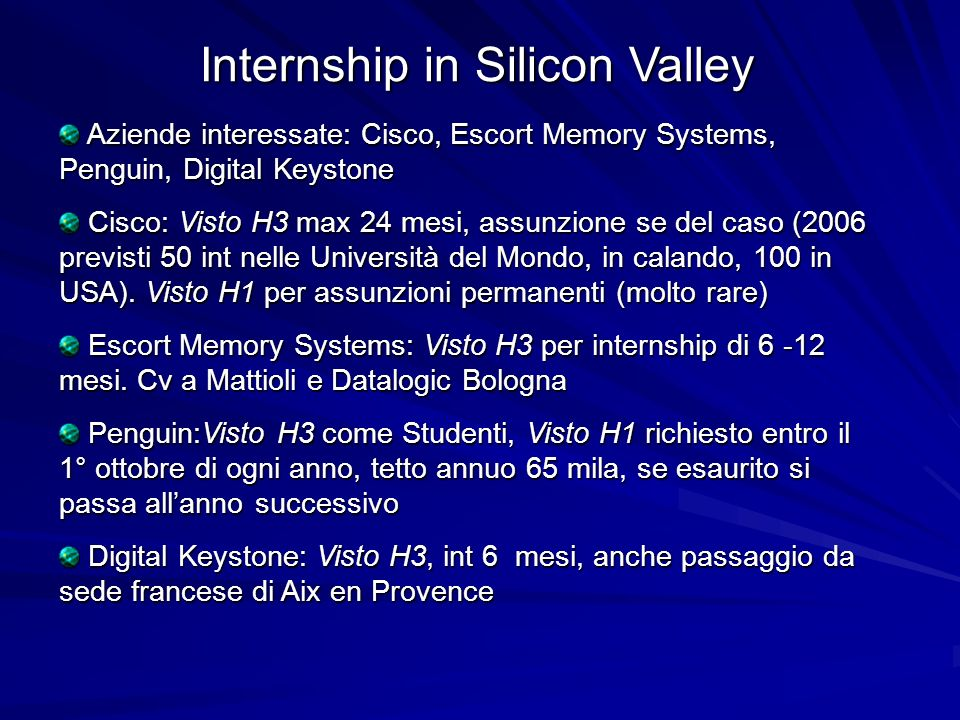 Internship in Silicon Valley